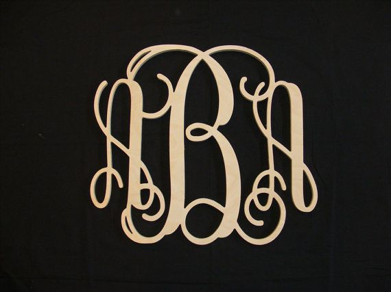 36 INCH Vine connected monogram letter, Wooden wall letter, wedding, unfinished, home decor, wedding decor, wood letters via Etsy