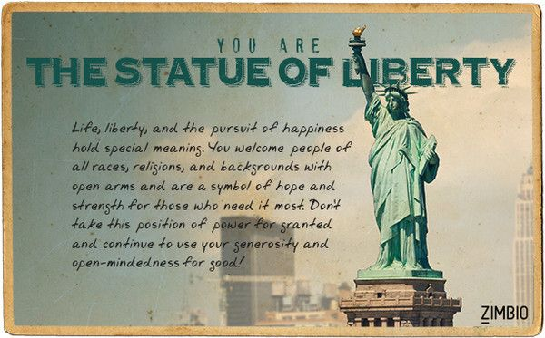Which Famous U.S. Landmark Are You? I'm the Statue of Liberty! :)