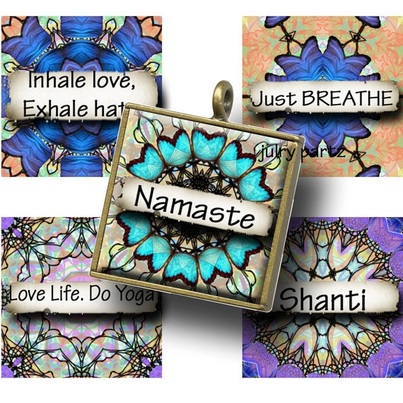 JADED YOGA with Affirmations Mandalas 1x1 Square by JulryPartZ, $3.25
