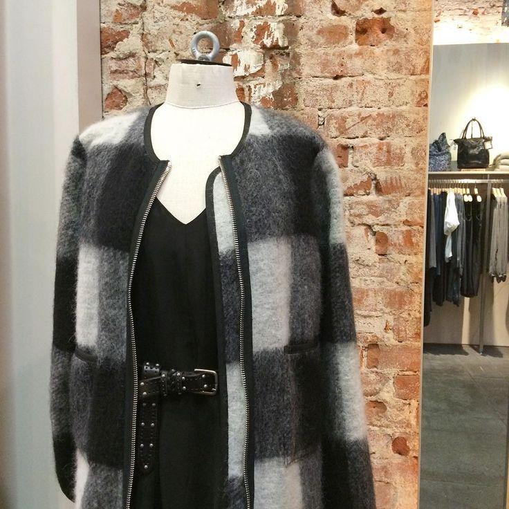 Fuzzy checks from Libertine-Libertine, silky dress from Minimum and studded belt from Cowboysbelt