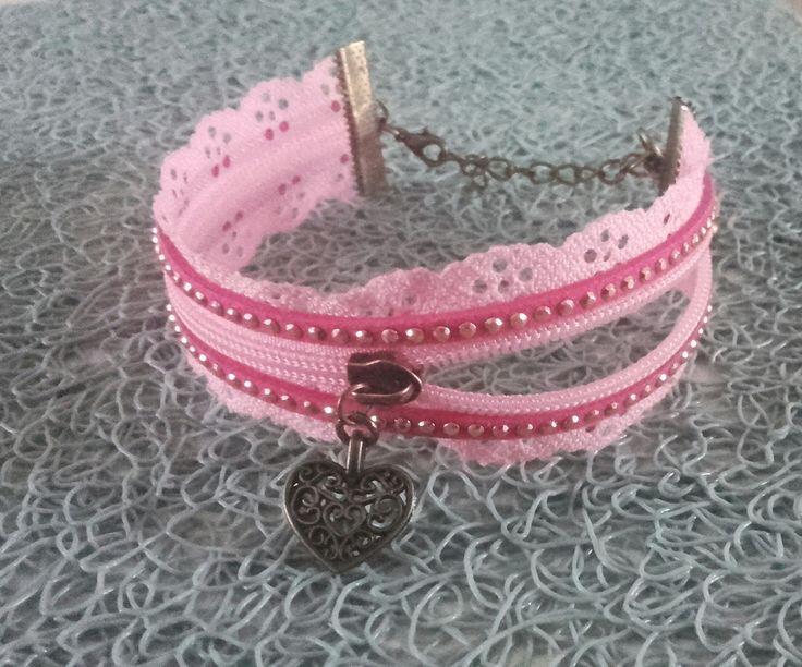 bracelet bronze femme cadeau original fermeture éclair breloque rose