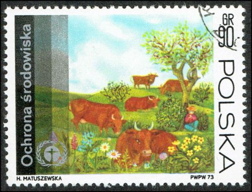 Scott # 1988 - 1973 - ' Human Environment Emblem & Grazing Cows ' in Stamps, Europe, Poland | eBay