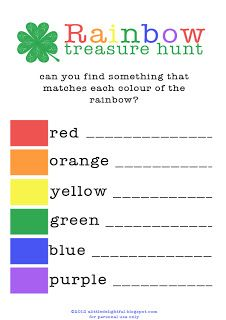 Rainbow treasure hunt sheet printable, find an item of each colour and get a small price for each