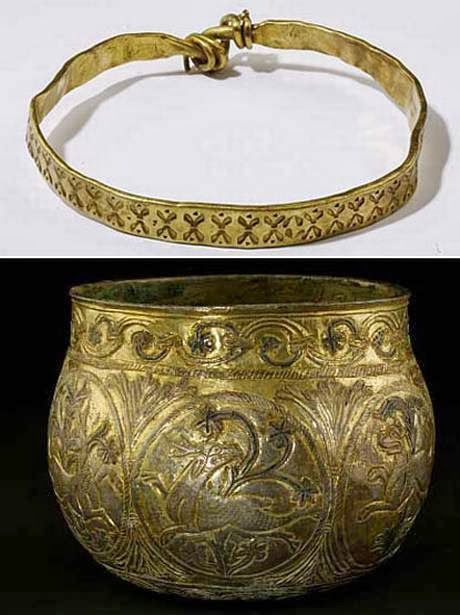 """Realms Of Gold The Novel: Harrogate Hoard: Viking Gold The hoard was found by father and son David and Andrew Whelan while metal detecting near Harrogate in 2007. David described the find as a """"ball covered with mud"""". Picture: British Museum Trustees- bowl circa 900AD. - See more at: http://realmsofgoldthenovel.blogspot.com/2014/03/harrogate-hoard-viking-gold.html#sthash.ZjUBVjcu.dpuf"""