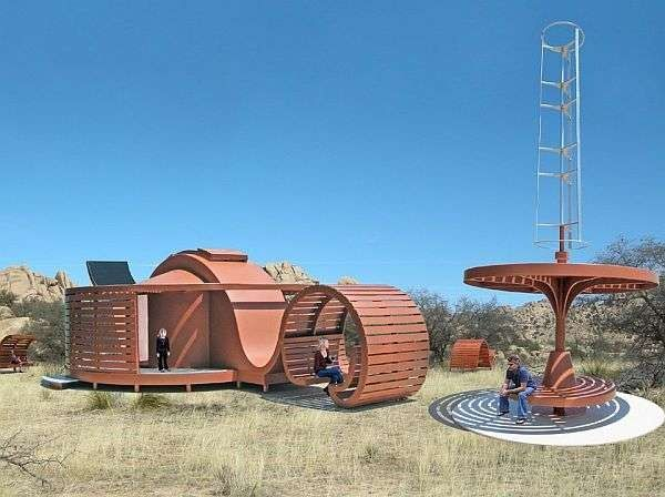 The Eco-Desert Retreat is one design in a series of functional art vacation retreat habitation structures that can be placed in various remote locations without the need for conventional utilities. These small vacation retreat shelters, and other support facilities, can be placed in various pristine landscapes without causing any adverse environmental damage. When it is time to remove the retreats, it can easily be done, leaving the landscape as it was.