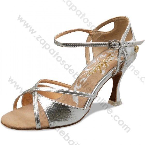 A2848-42 Zapatos baile salón latino plata altos