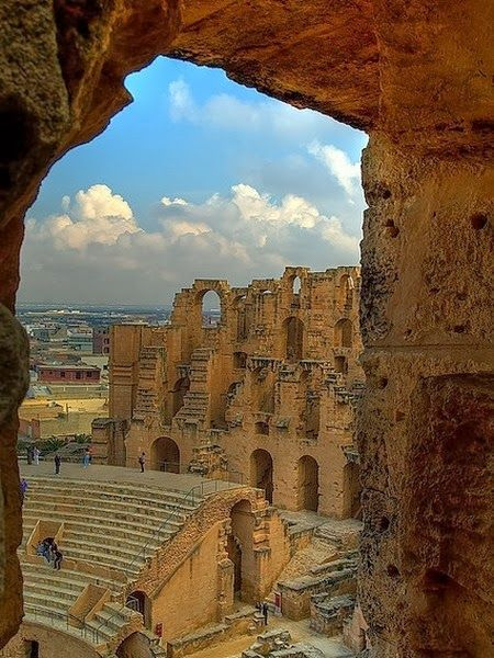 The Amphitheatre of El Jem is located in a plain in the center of Tunisia. It is modeled on the Coliseum of Rome and was build around 238 AD.