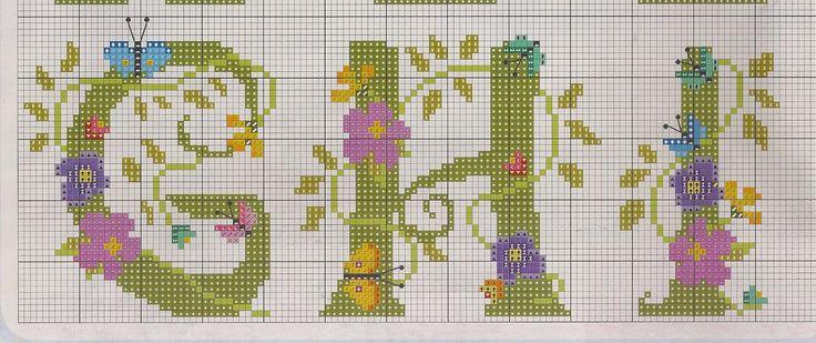 Ponto cruz - alfabetos com flores