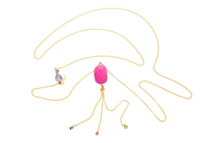 Collar Gemmasu PinK. Agata rosa y turmalinas
