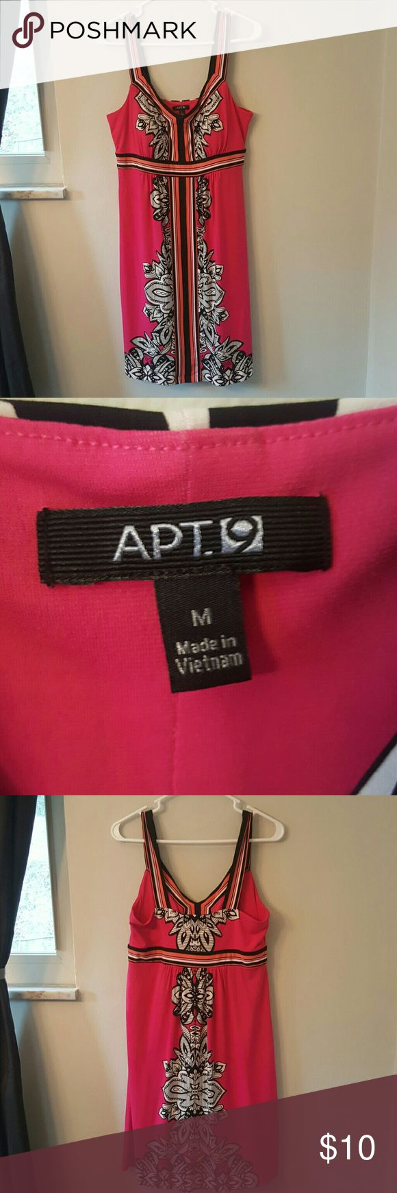 """Apt 9 Sundress Apt 9 hot pink sundress, nylon/spandex blend. Super stretchy and comfortable. Thin padding in cups. Approximate 39"""" from shoulder strap to hem. Apt. 9 Dresses"""