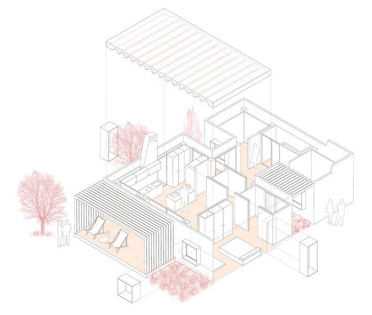 exploded isometric projection   House for Pau & Rocio   Arnau Tiñena Architecture