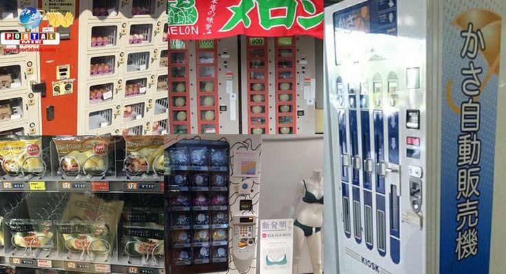 Algumas máquinas de venda automática do Japão (jidohanbaiki) são surpreendentes. Ovos, sutiã, guarda-chuva e até melão!