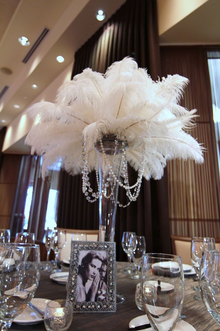Rent ostrich feather centerpieces wedding amp party centerpiece rentals - Feather And Pearl Center Pieces Photo Old Hollywood Glam Feathers