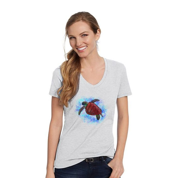 Hanes Ash Grey V Neck Shirt With A Red Sea Turtle With Background Design