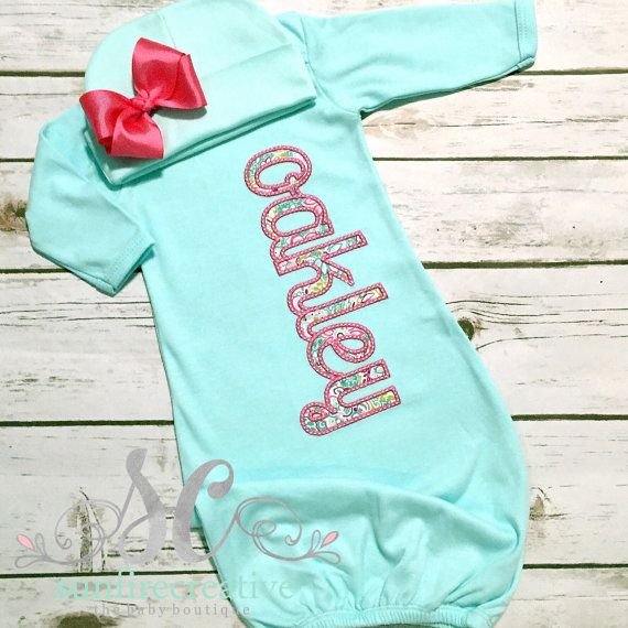 Baby Girl Coming Home Outfit Pink Mint with Bow Beanie Bringing Home Baby Outfit Name Gown