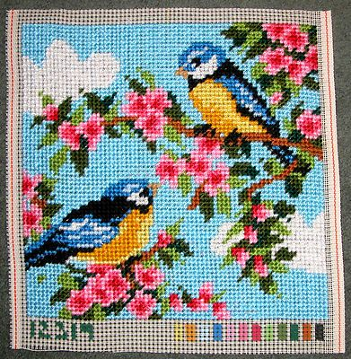 Vervaco-Large-Stitch-Needlepoint-Completed-Pillow-Top-Bluebirds-Flowers