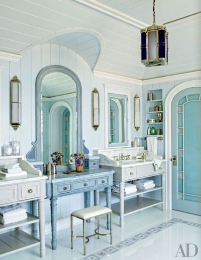 Master bath with vanity the master bath pinterest for Beach house master bathroom