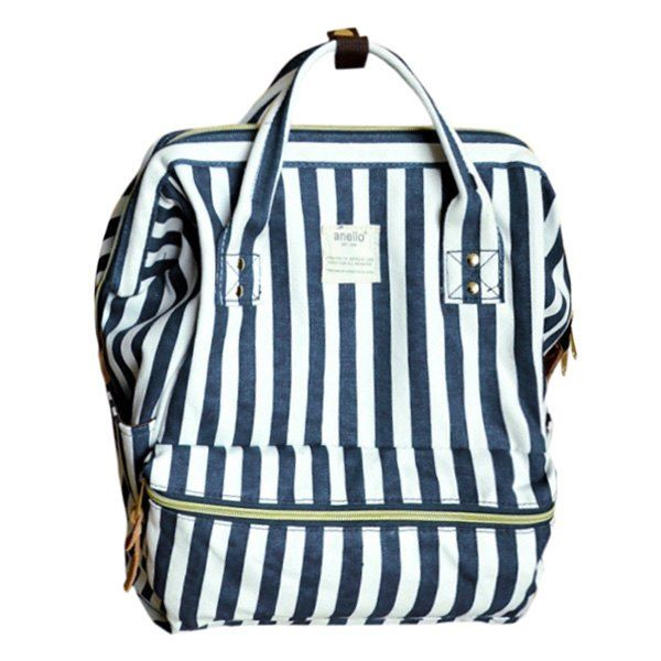 Preppy Style Women's Satchel With Strip and Canvas Design #CLICK! #clothing, #shoes, #jewelry, #women, #men