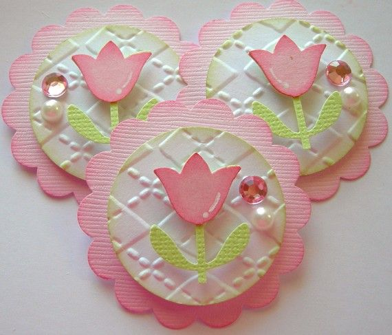 Spring/Easter Tulip Embellishments/Cupcake Toppers-Pink-Set of 3