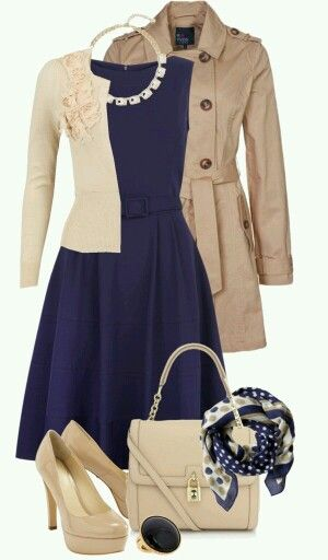 Cute fall work outfit! Love the cream and navy, as well as the pumps Could pair with a scarf Love the trench coat