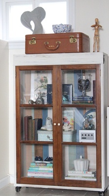 DIY china cabinet into bookcase