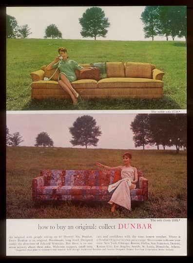 1963 Edward Wormley modern mod 2 sofa photo Dunbar Furniture print ad |