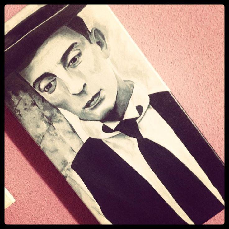 Buster Keaton.  Retrato en acrílicos.  Más en pennybrush.es