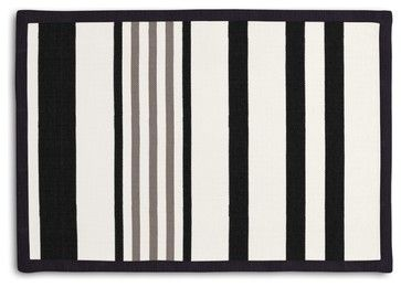 Black, Gray & White Stripe Tailored Placemat Set transitional-placemats
