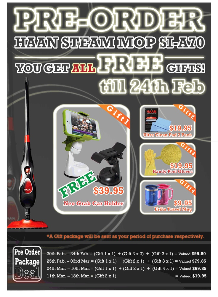 #HAAN STEAM MOP SI-A70    YOU GET ALL FREE GIFTS! TILL 24/Feb