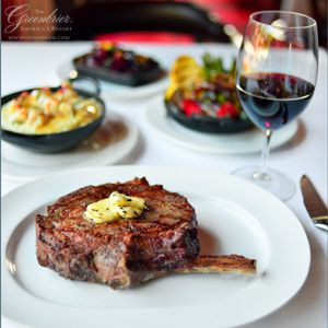 A rib-eye at #TheGreenbrier's Prime 44 West supreme steakhouse honoring NBA legend Jerry West.