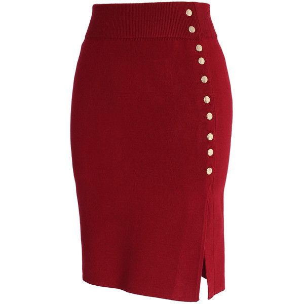 Chicwish Studs Knitted Pencil Skirt in Wine ($34) ❤ liked on Polyvore featuring skirts, bottoms, red, studded skirt, red pencil skirt, chicwish skirt, knee length pencil skirt and pencil skirt