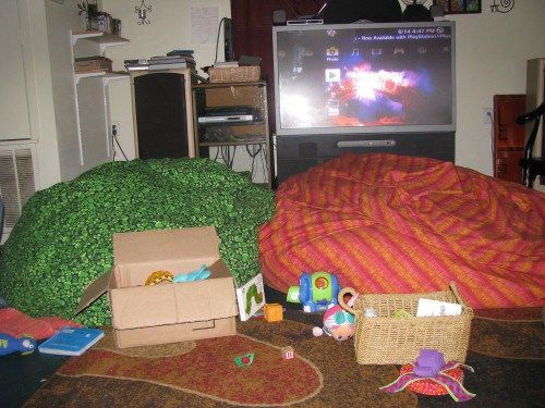 Use beanbags to childproof fireplaces, entertainment centers, etc.