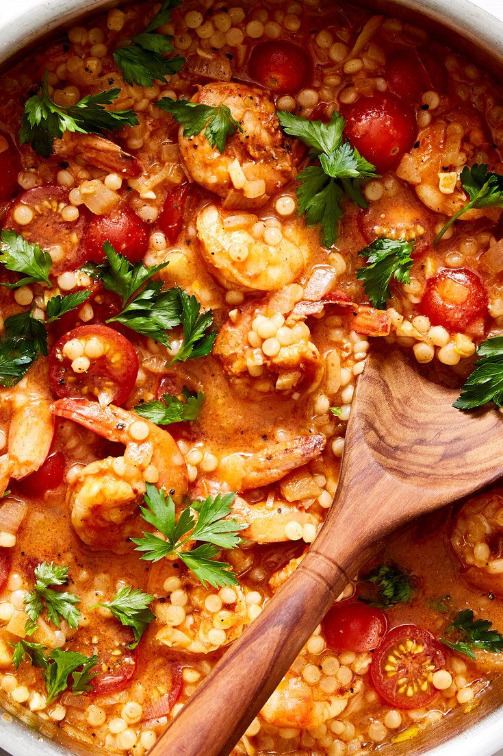 One Pan Shrimp And Pearl Couscous With Harissa Recipe Recipe Harissa Recipes Recipes Couscous Recipes