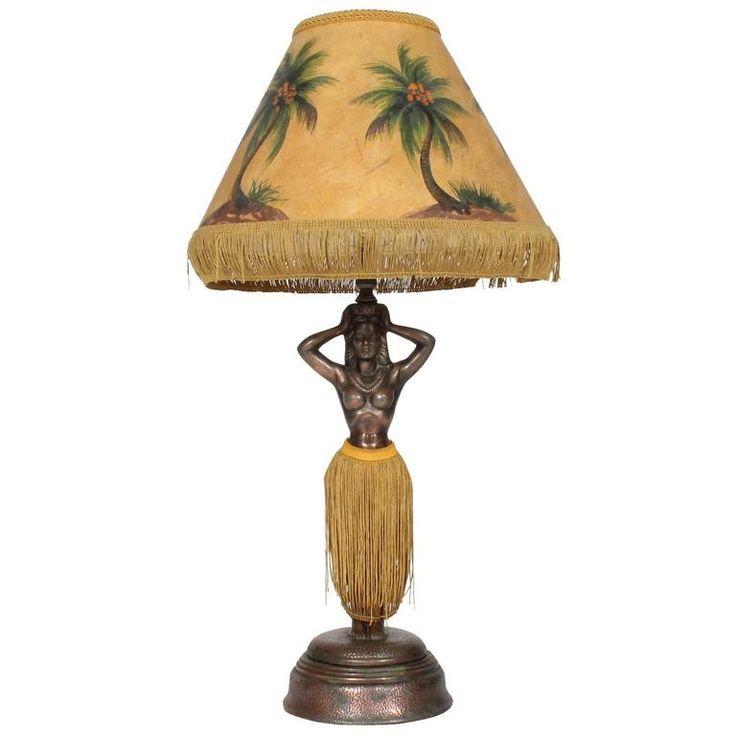 Undulating Hawaiian Patinated Metal Lady Hula Lamp 1