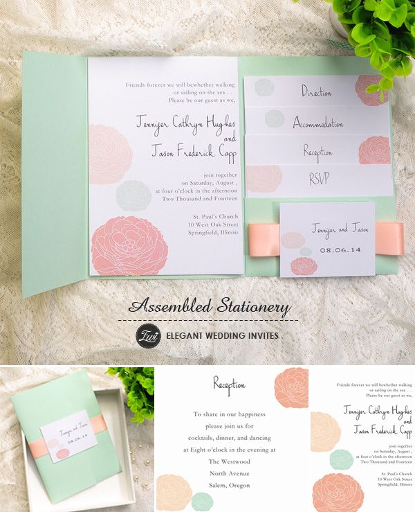 mint green and peach pocket wedding invitations with free rsvp cards for 2015 trends #weddinginvitations #elegantweddinginvites