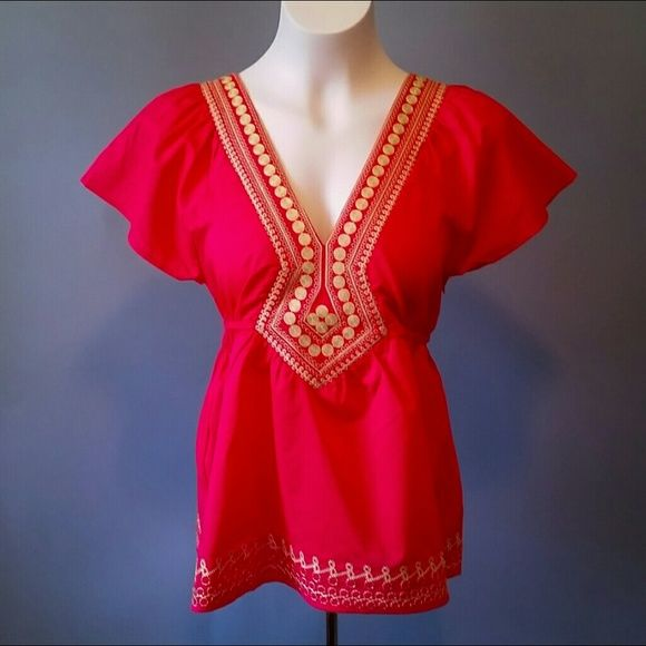 The Aurora Co. Tops -  Embroidered red & gold empire blouse - Boho vintage style and things we love at The Aurora Company - www.theauroraco.com