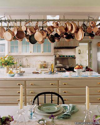 Beautiful pot rack with #copper pots