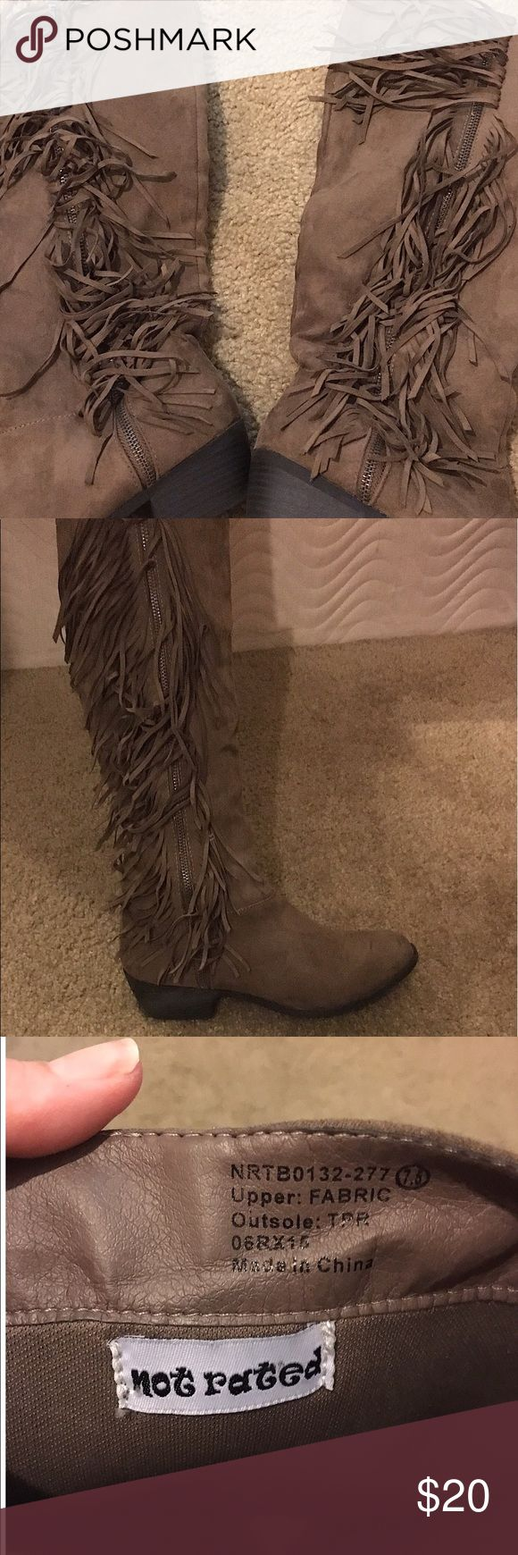 Not Rated Boot Not Rated fringe Boot size 7.5 that is in like new condition. Brown colored with cute fringes that go up and down the zipper. There is a zipper on the other side of the boot to let you in and out of the boot easily. These are great worn with shorts or jeans. I love these boots! These were rarely worn (about 2-3 times) and are in like new condition. I bought them from Buckle. Not Rated Shoes Heeled Boots