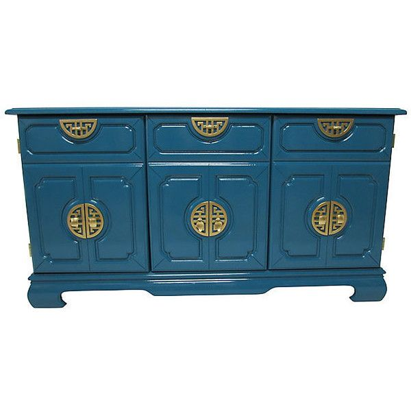 Pre-Owned Asian-Inspired Lacquered Cabinet ($2,875) ❤ liked on Polyvore featuring home, furniture, storage & shelves, oriental furniture, asian influenced furniture, asian media cabinet, oriental lacquer furniture and door furniture