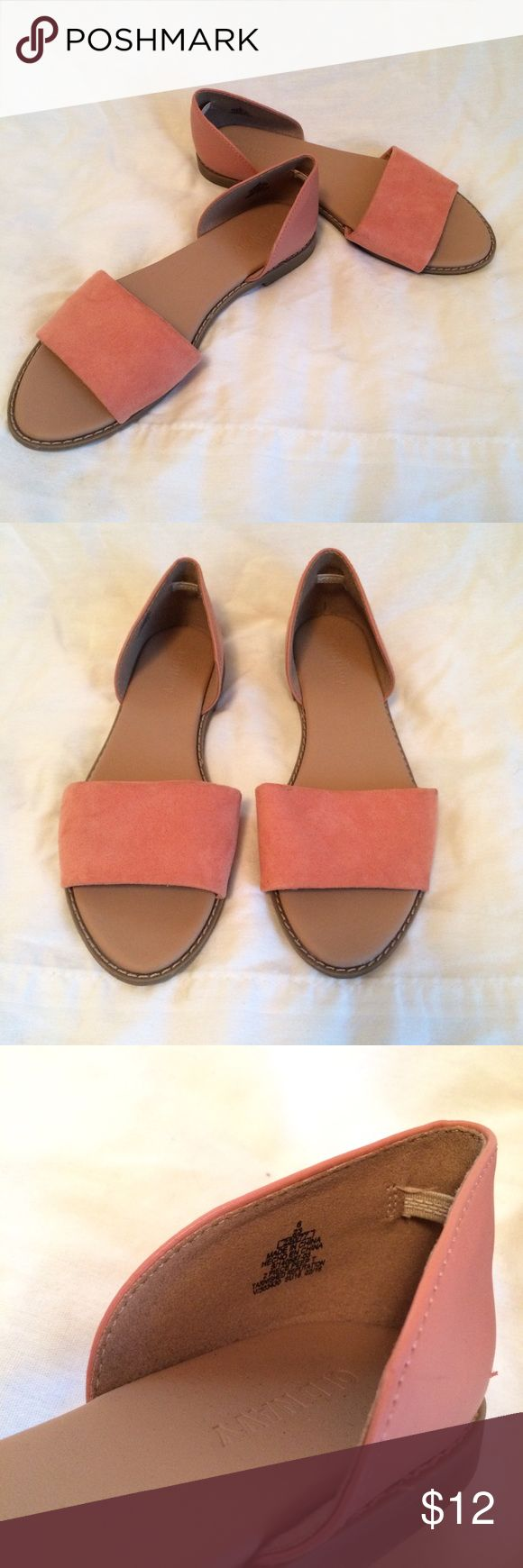 Old Navy Sandals Suede on the front leather on the back. Coral color. Old Navy Shoes Sandals