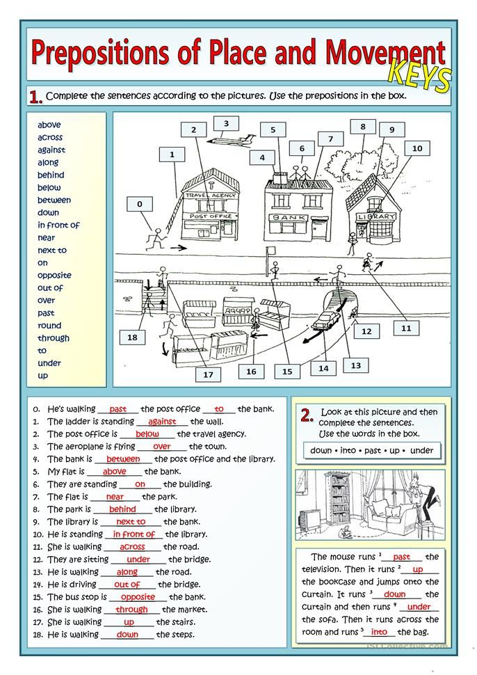 Prepositions Of Place And Movement And Places In Town With Images