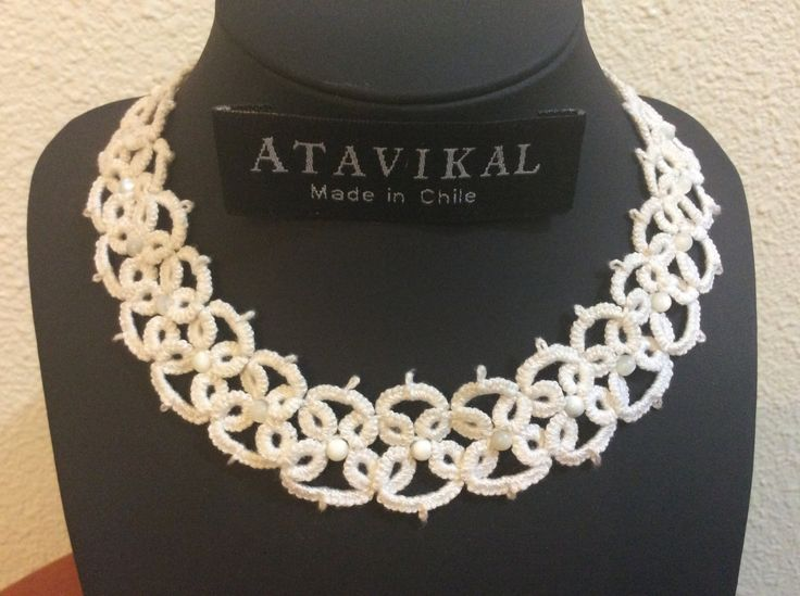 Beautiful handmade frivolite knitted necklace cotton and white genuine nacer balls ornaments by Atavikals on Etsy