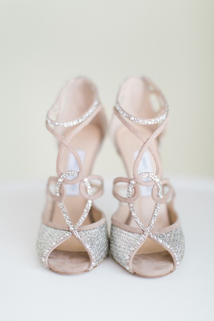 Nude, sparkle and swirls. We heart these Jimmy Choo bridal shoes! Photo by Troy Grover Photographers