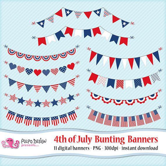 4 luglio Stamina banner clipart. Digital clipart patriottico.