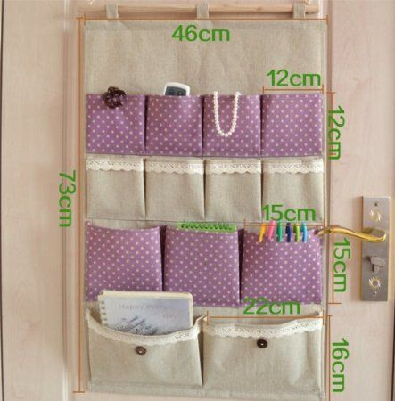 13 pocket door Hanging Tidy Organiser Storage Rack Zakka fluid storage bag multi-layer fabric bag wall door after the bag sorting bags big size 46*73cm: Amazon.co.uk: DIY & Tools