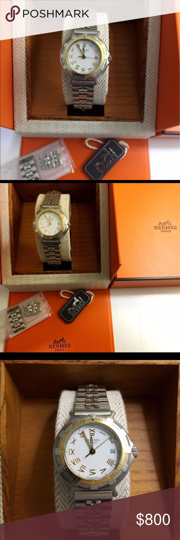 🔥💯%Auth Hermes Solid 18K/SS Bezel ⌚️with Box/tag 100% AUTHENTIC Vintage Ladies Hermes Captain Nemo Diver's Solid 18K ROTATING Bezel / SS watch in very good to excellent overall condition. Service/ Run.Comes with the Original Hermes BOX and TAG! The dial is in excellent to NEAR-FLAWLESS condition with almost no signs of age. The hands are also in excellent condition with minimal signs of any age, the Original SAPPHIRE Crystal is in excellent condition (no rubs marks, no chips, no cracks)…