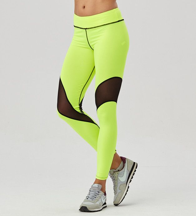 Legginsy Fluo Green Tulle - Carpatree - Spodnie i spodenki sportowe