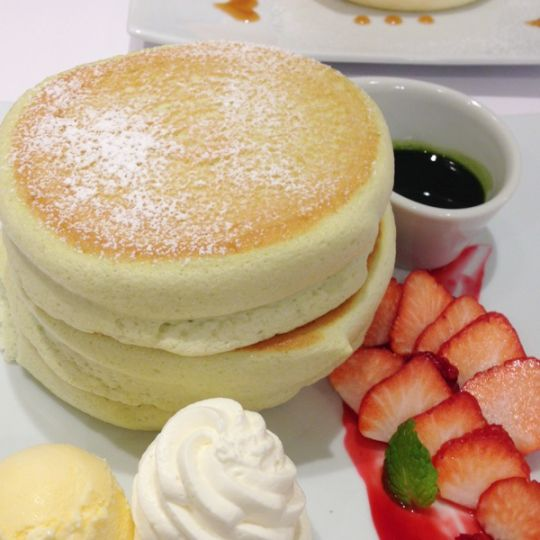 Big, thick and , fluffy are the perfect words to describe the Japanese pancake. Both baking soda and powder are included in this recipe and ring molds are used to give its height. Mix together ingredients in a blender and  cook for three minutes and there you have it. The Japanese pancake.