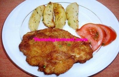 Tavuk Şinitzel (Fırında patates eşliğinde) | Yemekgurmesi