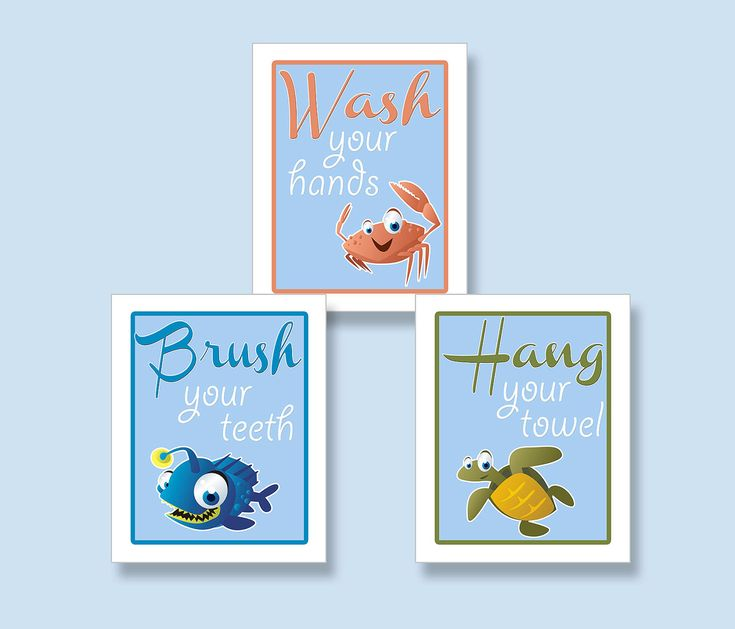 Kids Bathroom Art Prints SET OF 3 8x10s  Kids Ocean Creatures Washroom Art. $16.00, via Etsy.